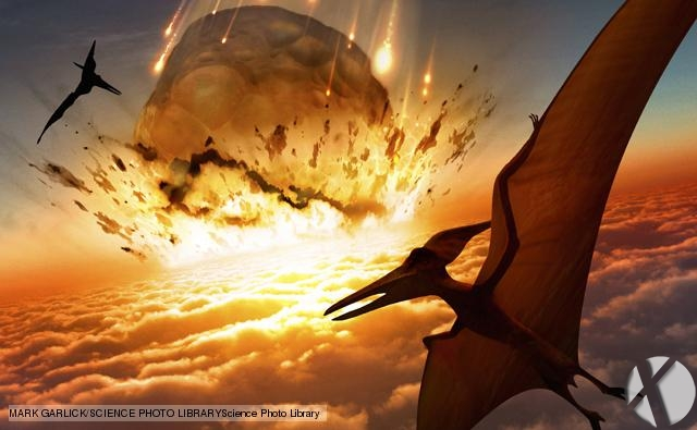 Extinction of the dinosaurs. Artwork of flying reptiles near the point of impact of a large asteroid. This asteroid is impacting the Earths atmosphere at a speed of several kilometres per second. It is is some ten kilometres across. An event like this is thought to have caused the extinction of the dinosaurs 65  million years ago. The asteroid hit the ocean, sending tsunamis (massive waves) around the globe, destroying coastal areas. Water vapour thrown into the  atmosphere lowered global temperatures. Plant and then animal life began to die off. The dinosaurs never recovered, and mammals rose to become the dominant form  of life.