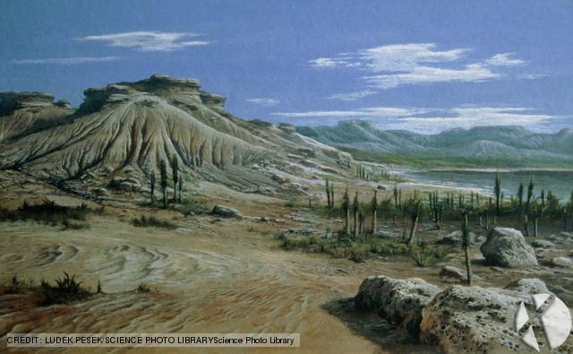 An artists impression of  a  Triassic  landscape. This period extended from 225 to 195 million years ago, and its advent signalled the start of a rapid advance in vertebrate and plant life.